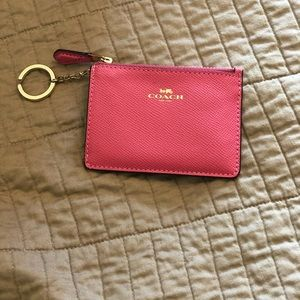 Pink Coach keychain card case